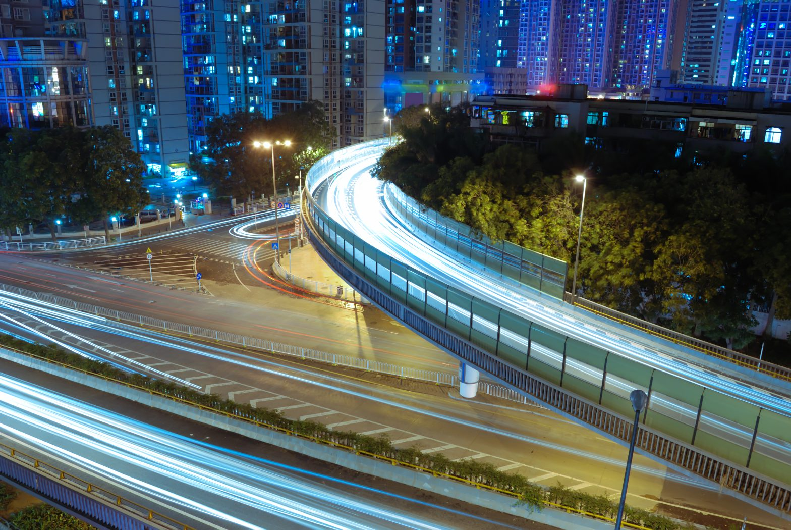 modern urban landscape at night